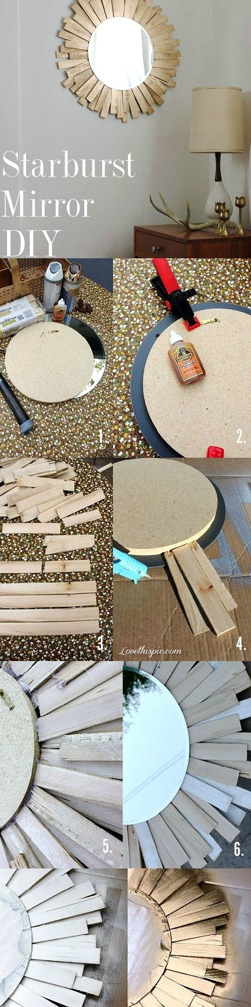 DIY starburst mirror diy decorating ideas crafts instructions diy decor for the home home ideas craft decor craft mirror mirrors