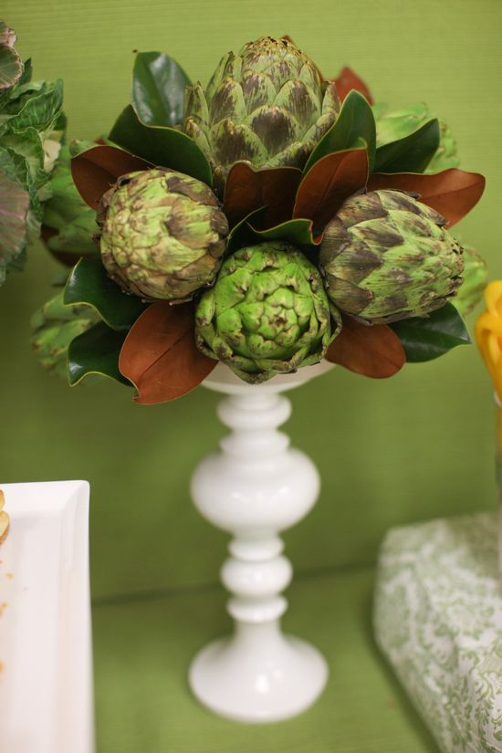 Artichokes and magnolia leaves - when done with the centerpiece you can cook and eat the artichokes!