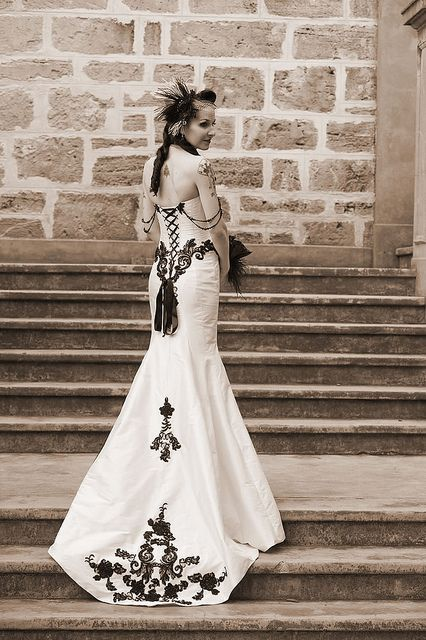 Victorian gothic wedding dress. . . i think i like it because of the corset portion and the lace look. Of course it's black and dreadful white.