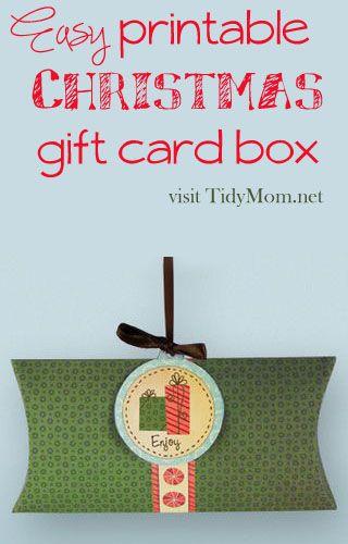 Easy #Christmas Holiday #printable Gift Card Box at TidyMom.net #pinthehalls