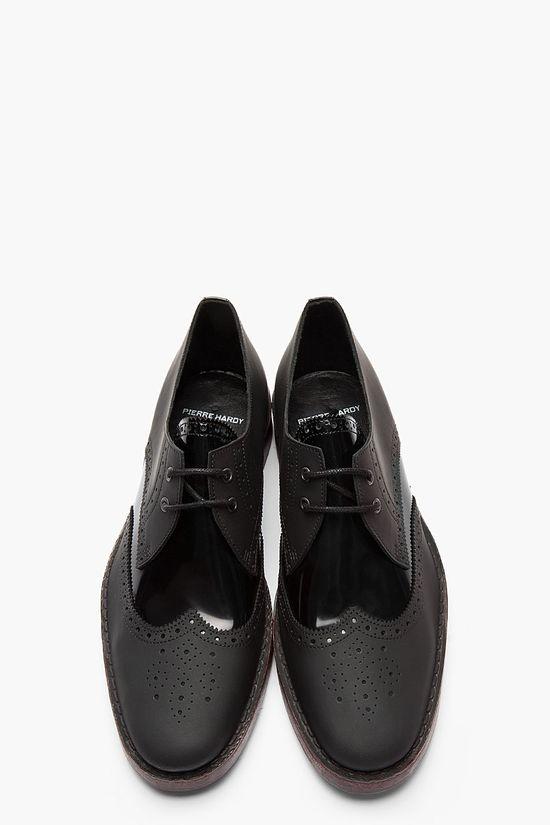 PIERRE HARDY Black Matte & Patent Leather BY10 Derbys