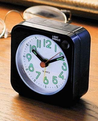 I always travel with this mini alarm clock.  A great travel accessory for under $13. (Peggy Mooney)