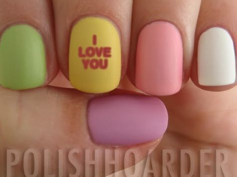Conversation Heart Nails - good use of a matte top coat!