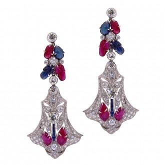 Tutti Frutti Art Deco Earrings