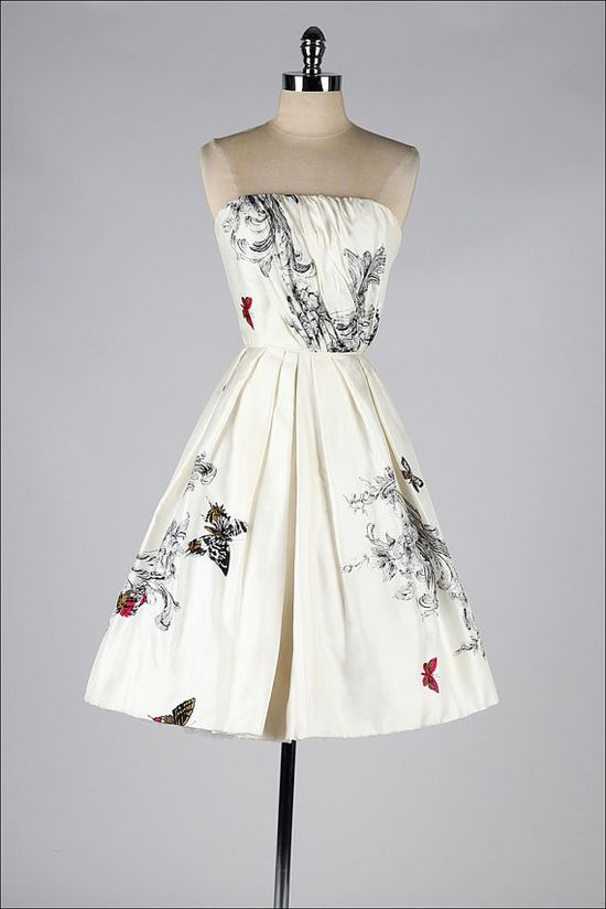 vintage 1950s dress . strapless butterfly by millstreetvintage