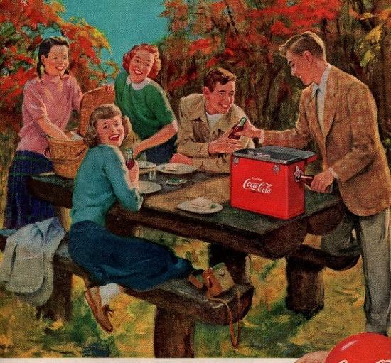 vintage picnic coca cola 1950 advertisement.