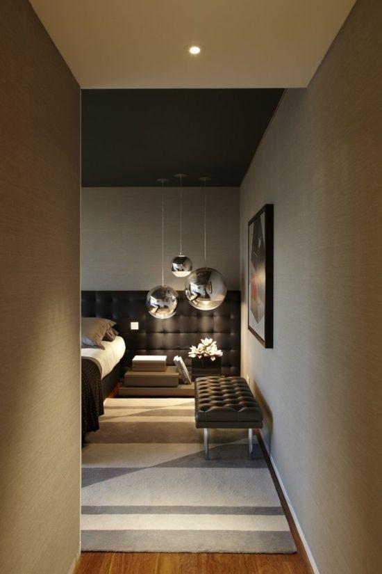 *modern interiors, bedroom design, soft lighting, tom dixon pendants* - Contemporary bedroom interior design and decoration