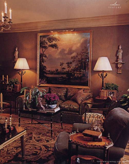 william eubanks bill interior design regency style old world interior palm beach hermes by William R Eubanks Interior Design, via Flickr  the proportion of lamps to painting