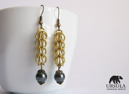 Hematite and Brass Chainmaille Earrings Full by UrsulaChainmaille, $9.00