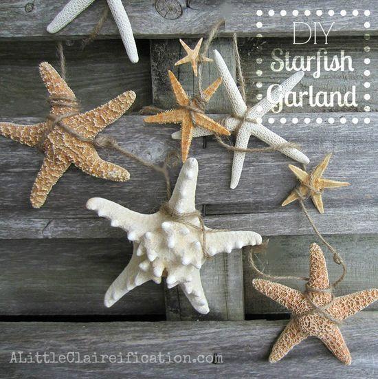DIY Starfish Garland at ALittleClaireific... #starfish #DIY #Crafts @ALittleClaire