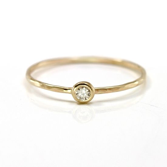 Champagne Diamond Stacking Ring in 14k Yellow Gold / Scarlett Jewelry