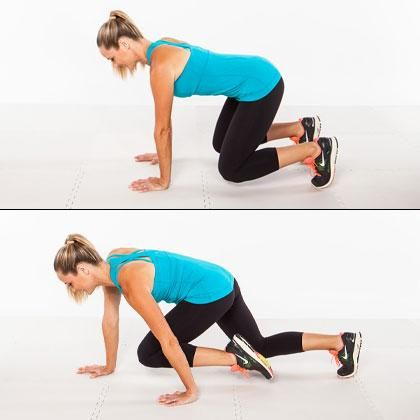 The fast-paced cardio core crawl will pump your heart rate and strengthen your core.
