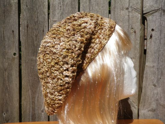 Brown and straw colored slouchy beret with by CrochetByMel on Etsy, $22.96