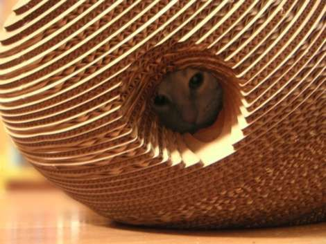 Purrfect Cardboard Cat Shelter Doubles as a Scratching Station #bees trendhunter.com