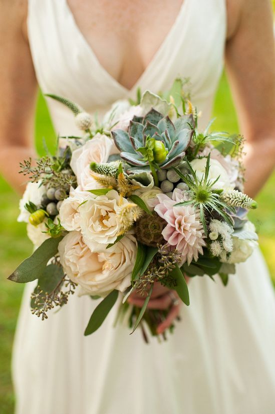 Muted pastels make up this whimsical wedding bouquet Photography By / Jeremyhessphotogr... Design By / wildflowersbydesi...