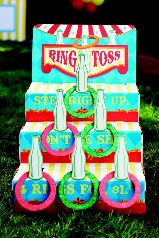 Ring toss game at the Carnival Party. #BirthdayExpress #carnivalparty #kids #party