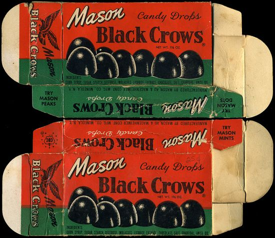 Mason - Black Crows candy box - 1930's 1940's 1950's by JasonLiebig, via Flickr.  Hated these--ugh!