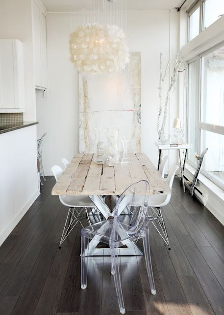 Clean. light wood. clear chairs. white light.