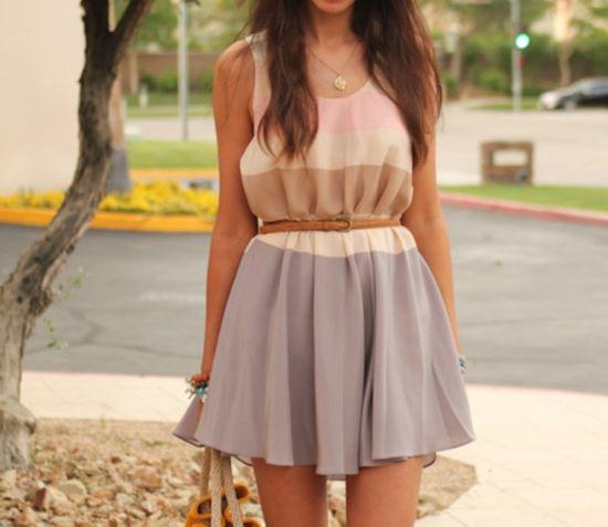 dress skater dress pastel striped dress belted dress