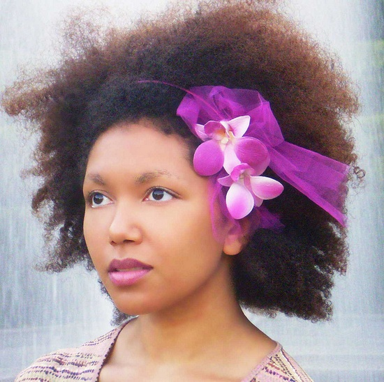 Natural Hair Accessories Headband Magenta Orchid Tulle by Boutique de Bandeaux, via Flickr