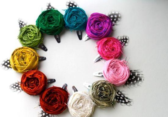 Fabric flower hair clips