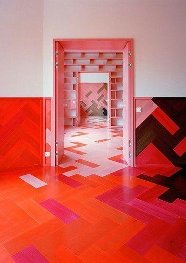 pink & orange    #floor interior design #modern floor design