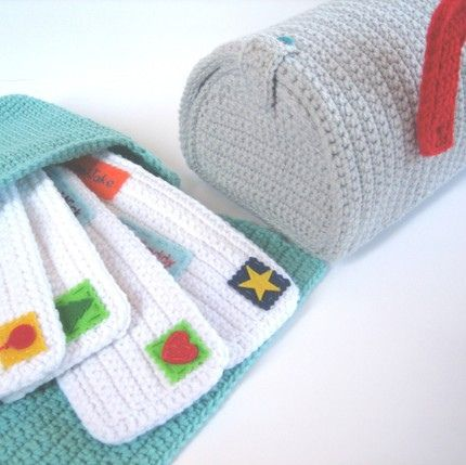 crochet mail play set #kids, #crafts, #crochet, #play, #toys, #mail