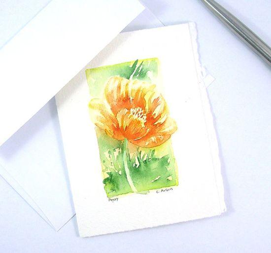 California Poppy Flower Painting - Art Card