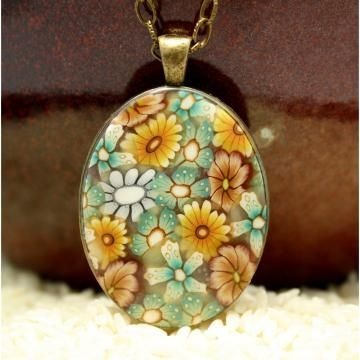 Polymer clay necklace with many handmade flowers