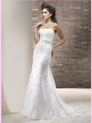 White Mermaid Strapless Lace Wedding Dress 2013 Wedding Dress