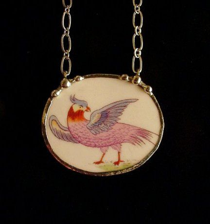 Broken china jewelry necklace antique colorful bird of paradise made from antique broken china