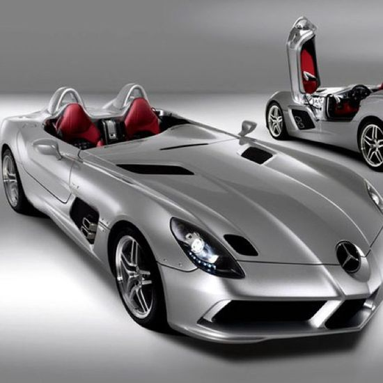 Silver car The Beautifully outrageous Mercedes SLR Stirling Moss