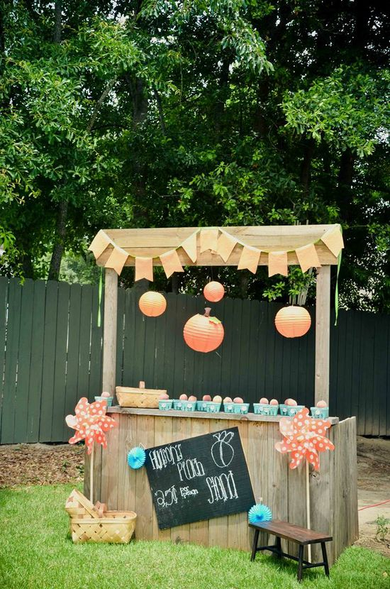 Peach Stand 2nd Birthday Party with DARLING IDEAS via Kara's Party Ideas