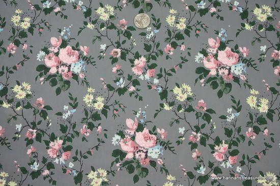 1940's Vintage Wallpaper pink roses.
