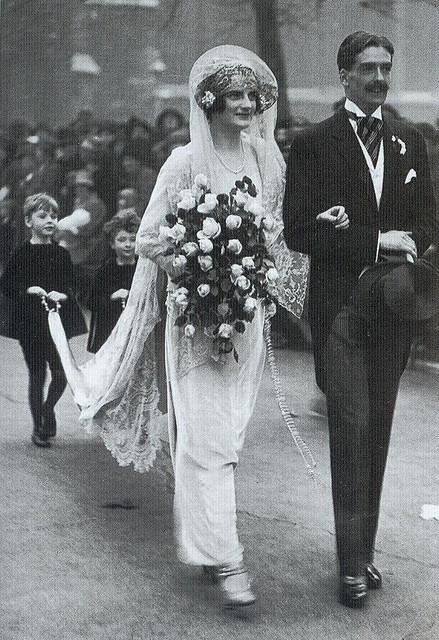 Beatrice Beckett, Sir Anthony Eden, 1923 #royalty #nuptials #wedding #aisle #veil
