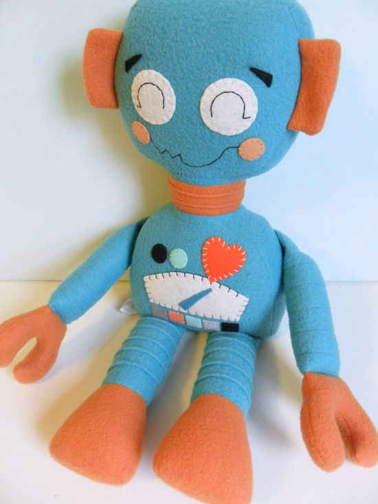 Kids - Baby & Toddler - Stuffed Toy - Rag Doll - Robot - Retro - Turquoise - Pumpkin - Orange #handmade #toys #toy #stuffed #stuffedtoys