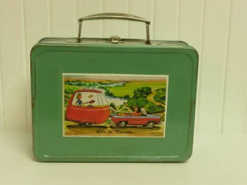 Up-Cycled 1940s Metal Lunchbox with Decoupaged Travel Trailer Postcard, Aqua and Green - Collectable Storage $34