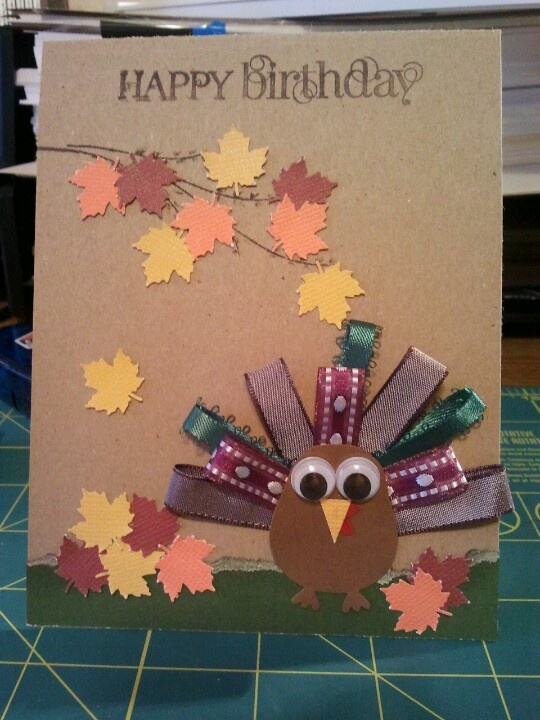 Thanksgiving themed birthday card using stampin up owl builder punch