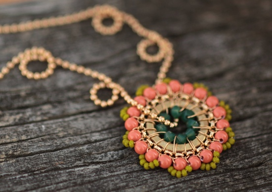 Bloom Necklace - Impatiens - Jewelry, Pendant, Beadwork, Handmade, Necklace, Weddings, Bridal Accessories, Gifts.
