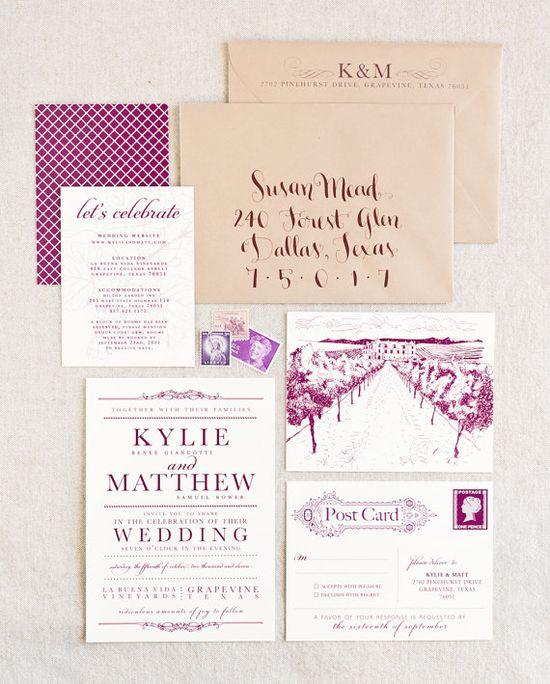Vineyard wedding invite