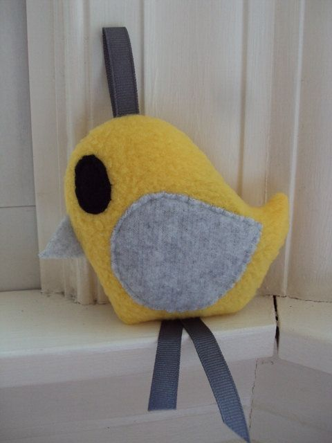 Yellow and Gray Crinkle Bird Toy - Sensory Toy for Baby - Yellow and Grey Baby Toy