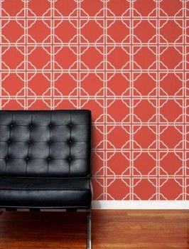 Aimee Wilder Asian Trellis Wallpaper Salmon  Dining room