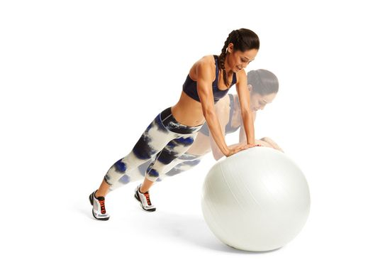 Get a sexy upper body with the Dolphin. All you need is a stability ball. #fitnessmagazine #workout