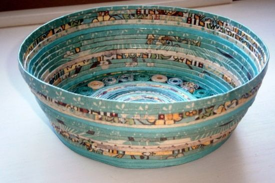 Handmade Paper Basket  Aqua large by BlueTangDesigns on #just do it #handmade silver jewelry #express yourself #bc rich handmade