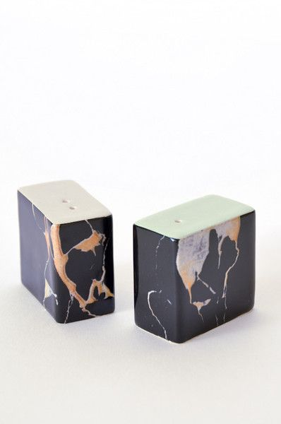 Handmade marbled Salt and Pepper Shakers - Jet www.koromiko.com