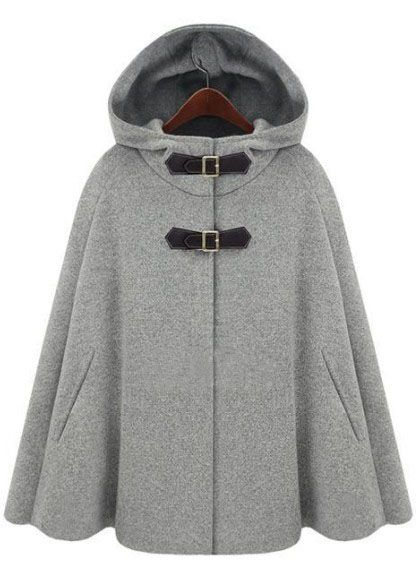 Grey Hoodie Two PU Buckle Woolen Poncho Coat