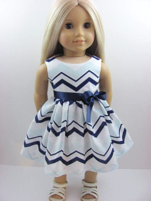 Coastal Colors Chevron Doll Dress for the American Girl Doll