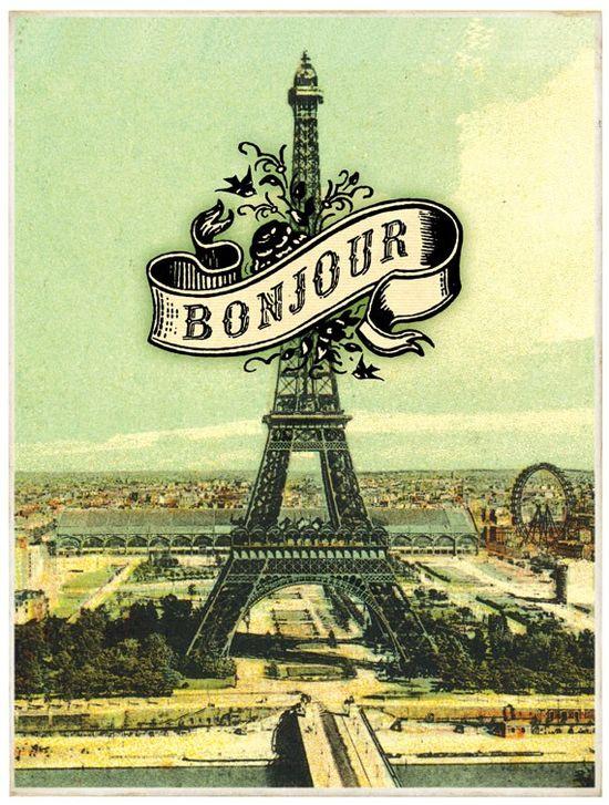 Bonjour Eiffel Tower Art Print