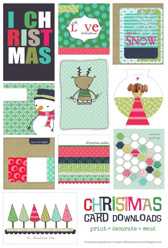 Free Christmas Card Printable Set for Project Life