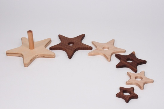 Star Stacker Wooden Toy Maple/Walnut, via Etsy.